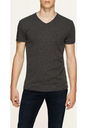 Mavi Füme V Yaka T-Shirt