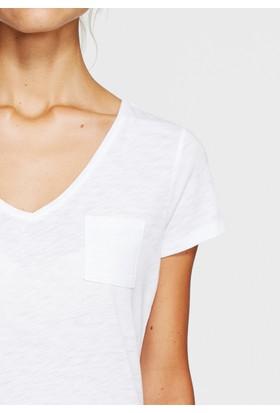 Mavi Beyaz Basic V Yaka T-Shirt