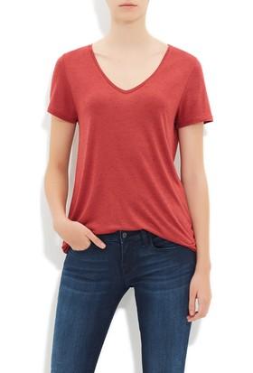 Mavi Derin Kiremit V Yaka T-Shirt