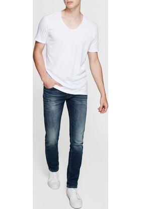 Mavi Beyaz V Yaka T-Shirt