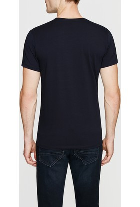 Mavi Lacivert V Yaka Streç T-Shirt