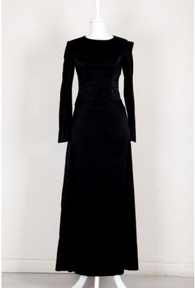 Butik Collection Kolları Pile Detaylı Elbise 14 Siyah