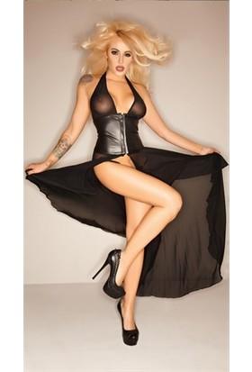For Dreams Seksi Transparan Elbise Siyah
