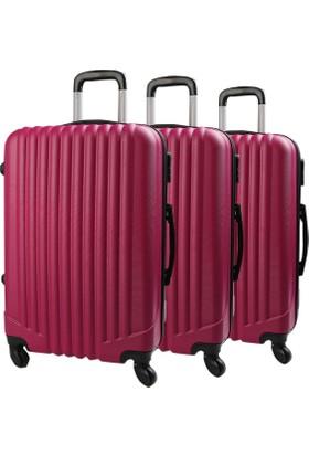 Escape Unisex Küçük Boy Valiz Bavul Seyahat Çantası Erapembe-Set