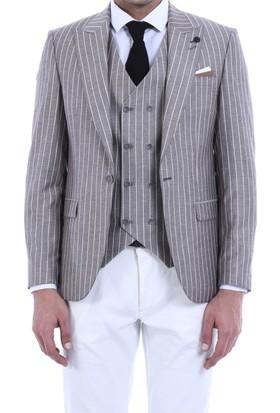 Wessi Çizgili Ceket Pantolon Düz Yelekli Takım Elbise Bej