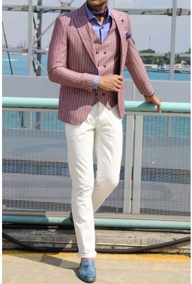 Wessi Ceket Çizgili Pantolon Düz Yelekli Takım Elbise Bordo