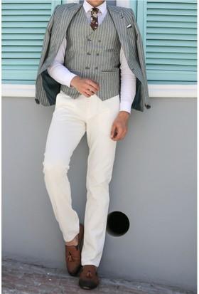 Wessi Ceket Çizgili Pantolon Düz Yelekli Takım Elbise Yeşil