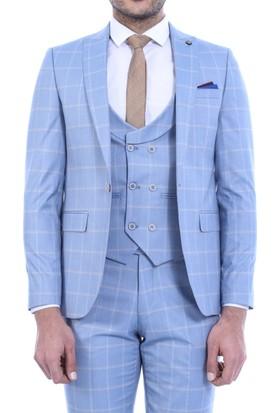 Wessi Tek Düğme Sivri Yaka Yelekli Takım Elbise Açık Mavi
