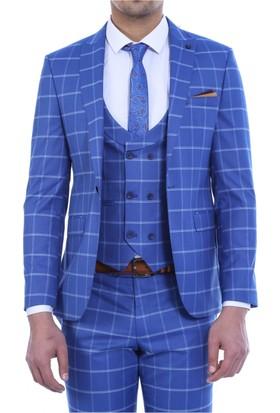 Wessi Sivri Yaka Tek Düğme Yelekli Takım Elbise Mavi
