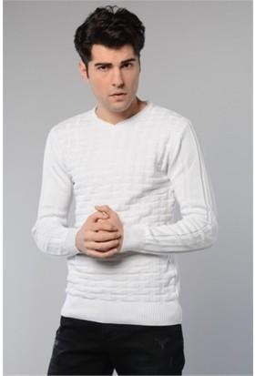 Rodin Hills Beyaz V. Yaka Kare Desen Triko Sweat Shirt 1090