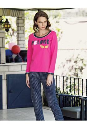 Mel Bee Puantiyeli Pijama Takımı Fuşya Mbp23020-1