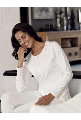 Şahinler Kadın Pijama Takımı Ekru Mbp23704-1