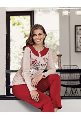 Şahinler Puan Baskılı Kadın Pijama Takımı Vizon Mbp23707-1