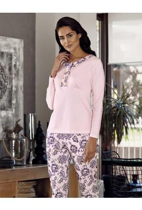 Şahinler Desenli Kadın Pijama Takımı Pembe Mbp23708-1