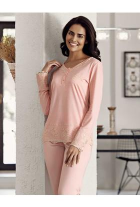 Şahinler Dantelli Kadın Pijama Takımı Pembe Mbp23718-1