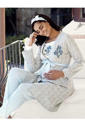 Şahinler Üçlü Lohusa Pijama Takımı Mavi Mbp23727-2