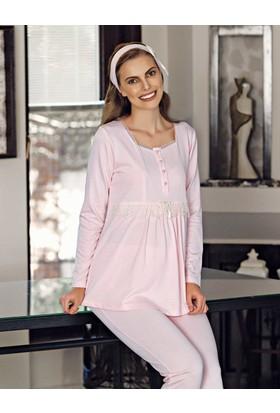 Şahinler Terlik Hediyeli Lohusa Pijama Takımı Pembe Mbp23734-1