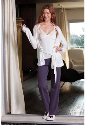 Hays Aura Kadın Triko Sabahlıklı Penye 3'lü Pijama Takımı
