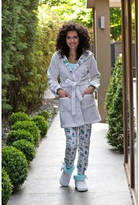 Hays Evia Kadın Wellsoft Sabahlıklı 3'lü Penye Pijama Takımı