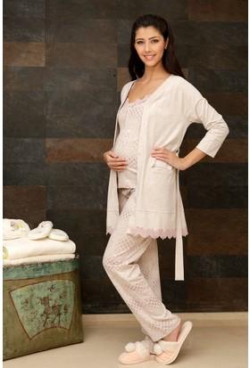 Hays Mom Penye Kadın Sabahlıklı 3'lü Uzun Pijama Takımı