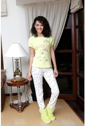 Hays Zuzu Penye Kadın Kısa Kollu Alt Uzun Pijama Takımı