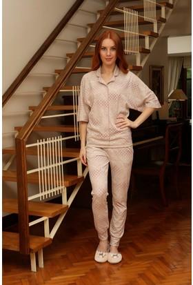 Hays Larin Penye Kadın 2'li Uzun Pijama Takımı