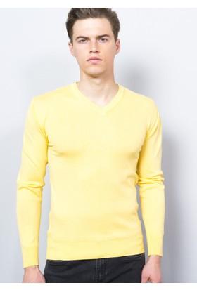Degarza Sarı Erkek V Yaka Kazak