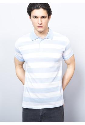 Adze Mavi - Beyaz Erkek Polo Yaka Tshirt