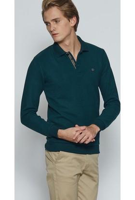 Adze Koyu Yeşil Erkek Polo Yaka SweaTshirt