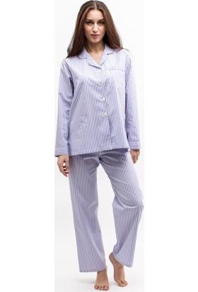 TheDON Mor Beyaz Çizgili Poplin Bayan Pijama Takımı