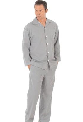 TheDON Siyah Beyaz Çizgili Poplin Pijama Takımı