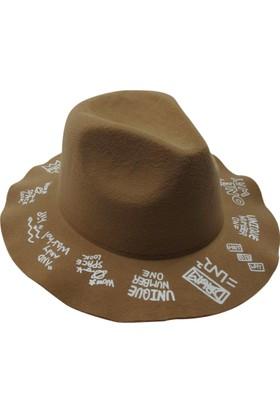 Laslusa İçten Ayarlanabilir Üstü Yazılı Keçe Fötr Şapka