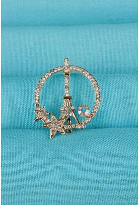 Moco Gold Eyfel Kulesi Parlak Taş Detaylı Bayan Broş 524135