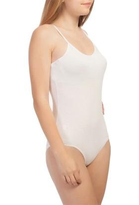 Seher Çıtçıtlı Badi İnce Askılı Medium Beden Beyaz Renk
