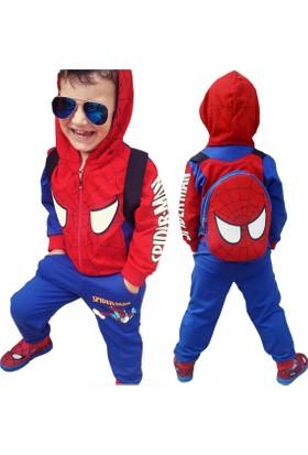 DobaKids Örümcek Adam Çantalı Kapşonlu Erkek Çocuk Eşofman Takımı