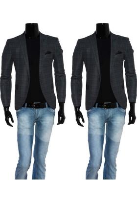 GiyimGiyim Kareli Dar Kesim Blazer Tek Ceket