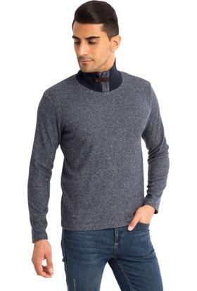 Kiğılı Önü Açık Bato Yaka Slim Fit Sweatshirt