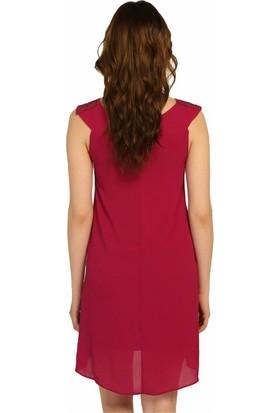 Dm Güpür Yaka Krinkıl Kumaş Elbise