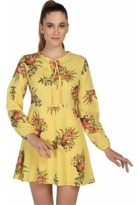Dm Şifon Elbise - Sarı