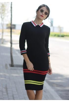 Femme Yakalı Triko Elbise