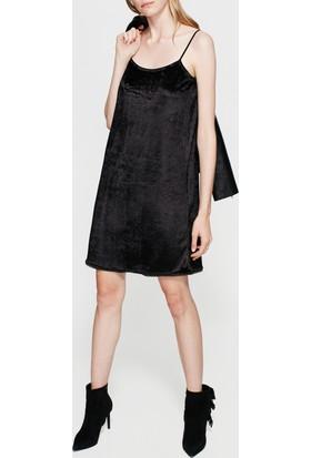 Mavi Siyah Kadife Elbise