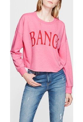 Mavi Bang! Baskılı Sweatshirt