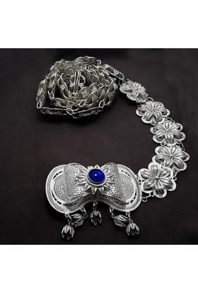 Midyat Nurtaş Gümüş Safir Taşlı Midyat Telkari El İşçiliği Gümüş Bayan Kemer 20107185