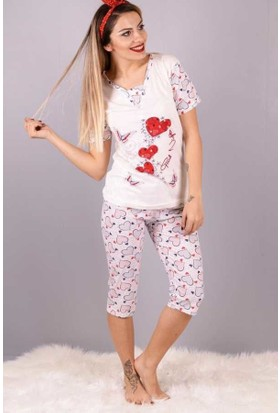 Peri Kızı Kırmızı Kalp Baskı Pijama Takımı Ekru