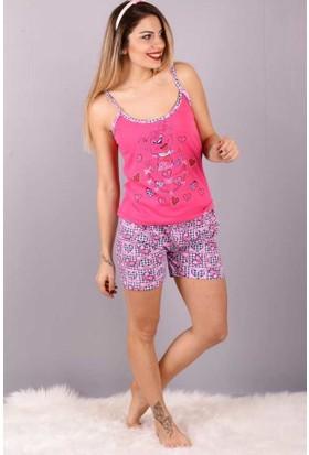 Peri Kızı Köpek Baskı Şortlu Pijama Takımı Fuşya