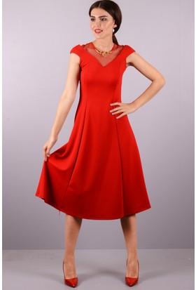 Peri Kızı Kolyeli Midi Boy Elbise Kırmızı