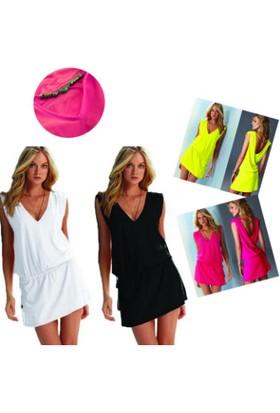 Wildlebend Likralı Plaj Elbisesi - 1 Beden - Sarı