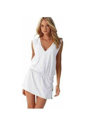 Wildlebend Likralı Plaj Elbisesi - 1 Beden - Beyaz