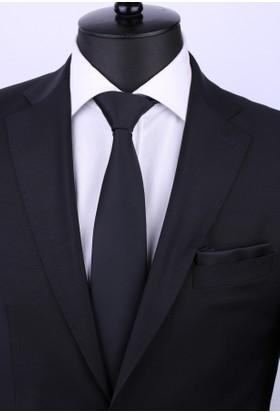 La Pescara Mendilli Düz Saten Siyah Kravat 1111