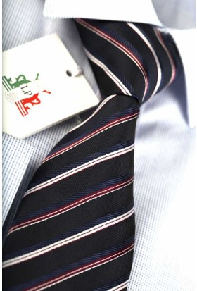 La Pescara Lacivert Kırmızı Beyaz Çizgili Klasik Kravat Çk1203